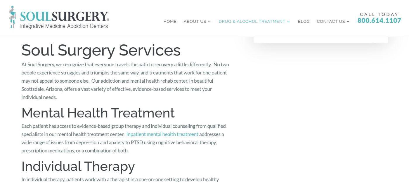 Portfolio - Soul Surgery Mental Health Services page